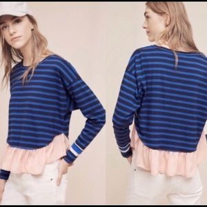 Anthro Deletta Pink Ruffle Hem striped Top XL
